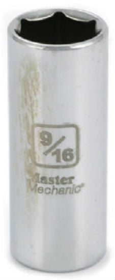 "Master Mechanic 119388 6-Point Deep Well Socket, 3/8"" Drive, 9/16"", Steel"