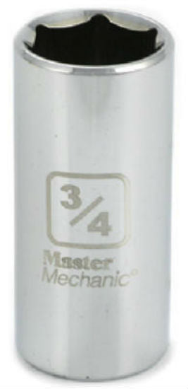 "Master Mechanic 119719 6-Point Deep Well Socket, 3/8"" Drive, 3/4"", Steel"