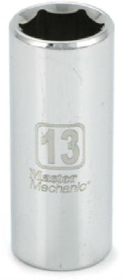 "Master Mechanic 119818 6-Point Deep Well Socket, 3/8"" Drive, 13 mm, Steel"
