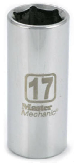 "Master Mechanic 120089 6-Point Deep Well Socket, 3/8"" Drive, 17 mm, Steel"