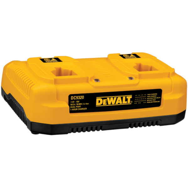 DeWalt® DC9320 Heavy Duty NiCd/NiMH/Li-Ion 1 Hour Dual Port Charger, 7.2V-18V