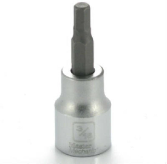 "Master Mechanic 123596 Hex Bit Socket, 3/8"" Drive, 3/16"""