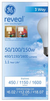GE Lighting 97785 Reveal® Incandescent A21 3-Way Bulb, Soft White, 50/100/150W