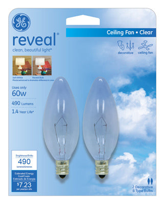 GE Lighting 48714 Reveal® B10 Blunt Tip with Candelabra Base Bulb, Clear, 60W