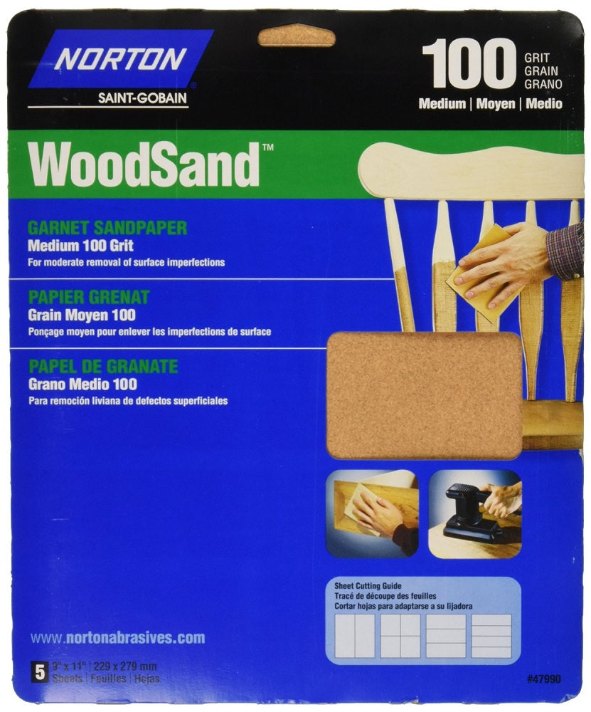 Norton® 07660747990 Garnet Wood Sanding Sheets, Medium, 100-Grit, 5-Pack