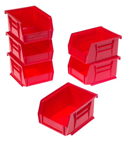 Akro Mils® 08212R Plastic Storage Multi-Bin, Red, 6-Pack