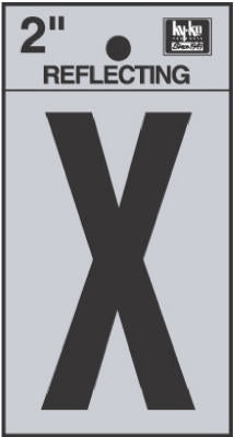 "Hy-Ko RV-25/X Reflective Adhesive Vinyl Letter X Sign, 2"", Black/Silver"