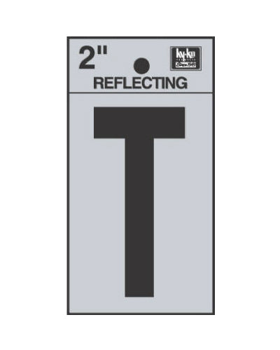 "Hy-Ko RV-25/T Reflective Adhesive Vinyl Letter T Sign, 2"", Black/Silver"