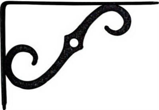 "National Hardware® N229-427 Ornamental Shelf Bracket, 8"" x 5-1/2"", Antique Black"