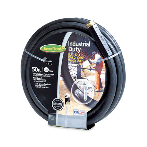 "Green Thumb 136-911 Industrial Duty Rubber Garden Hose, 5/8"" x 50', Black"
