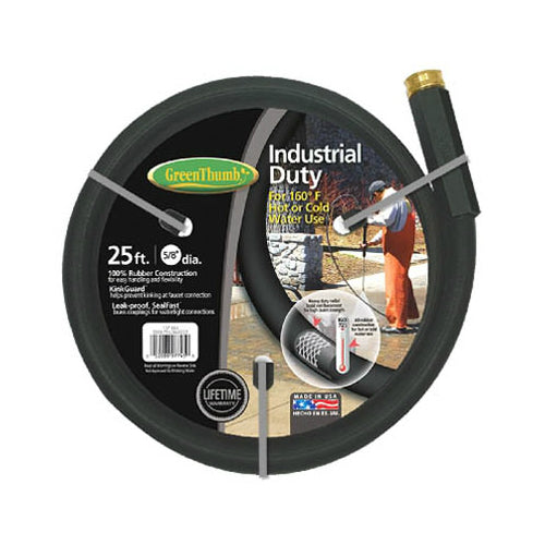 "Green Thumb 137-885 Industrial Duty Rubber Garden Hose, 5/8"" x 25', Black"