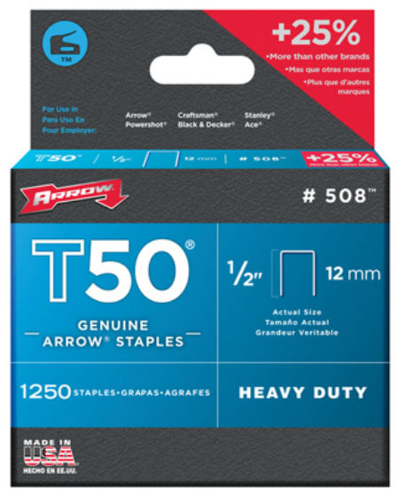 "Arrow Fastener 50824 Heavy Duty T50 Staples, 1/2"", 1250-Pack"
