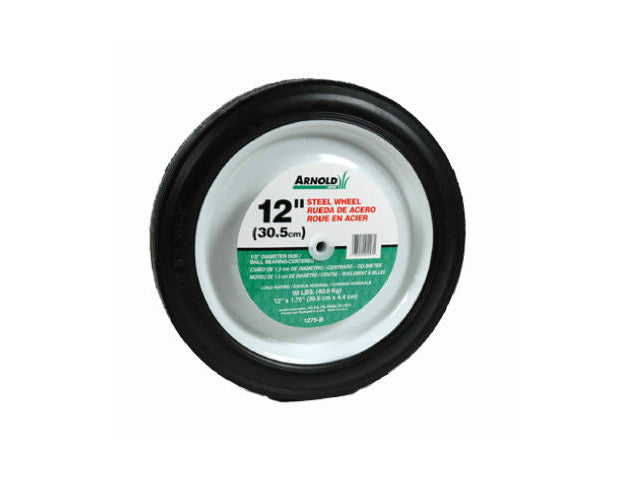"Arnold® 1275-B Steel Universal Symmetrical Replacement Wheel, 12"" x 1.75"""