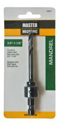 "Master Mechanic 140803 Carbon Hole Saw Mandrel, 3/4"" - 1-1/8"""
