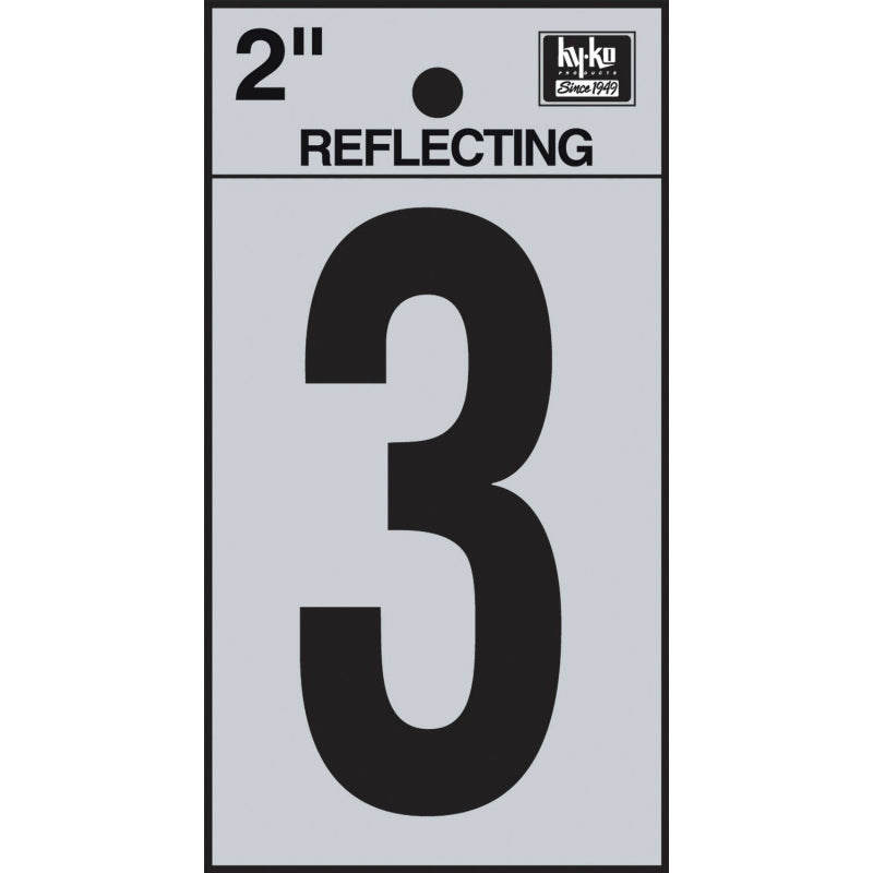 "Hy-Ko RV-25/3 Reflective Adhesive Vinyl Number 3 Sign, 2"", Black/Silver"