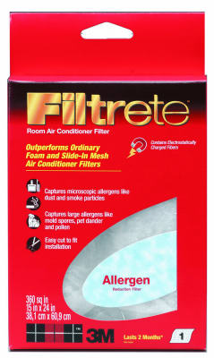 "Filtrete 9808 Micro Particle Room Air Conditioner Filter, 15"" x 24"", Red"