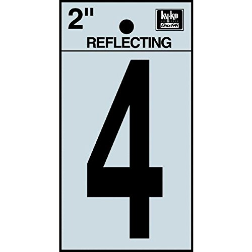 "Hy-Ko RV-25/4 Reflective Adhesive Vinyl Number 4 Sign, 2"", Black/Silver"