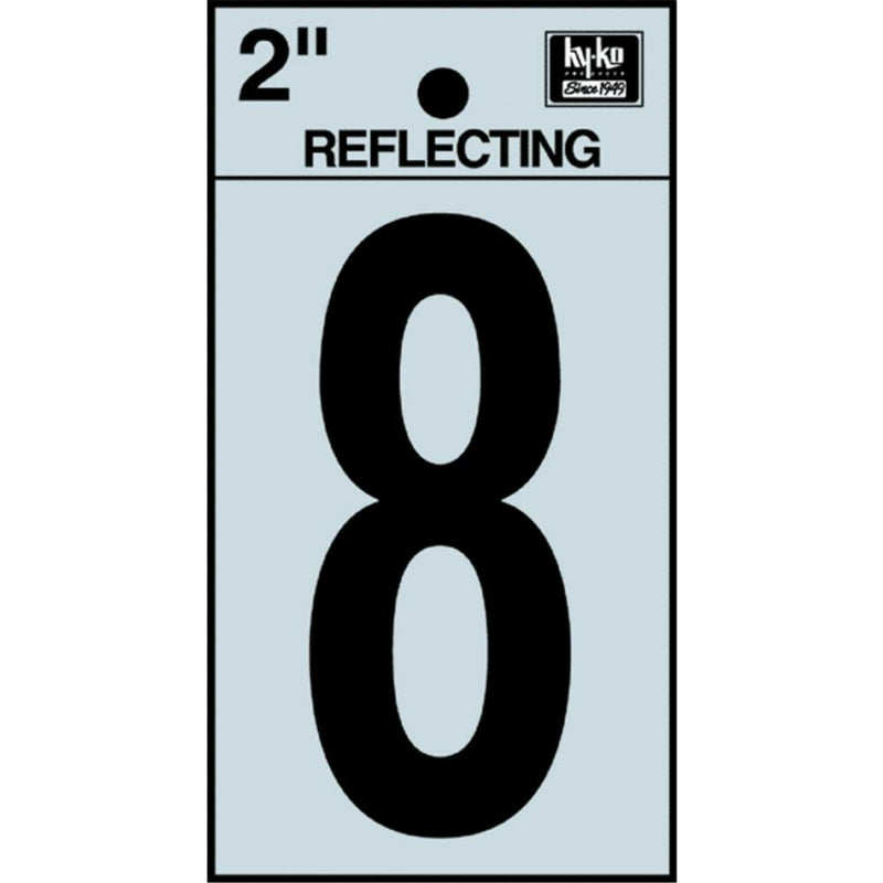 "Hy-Ko RV-25/8 Reflective Adhesive Vinyl Number 8 Sign, 2"", Black/Silver"