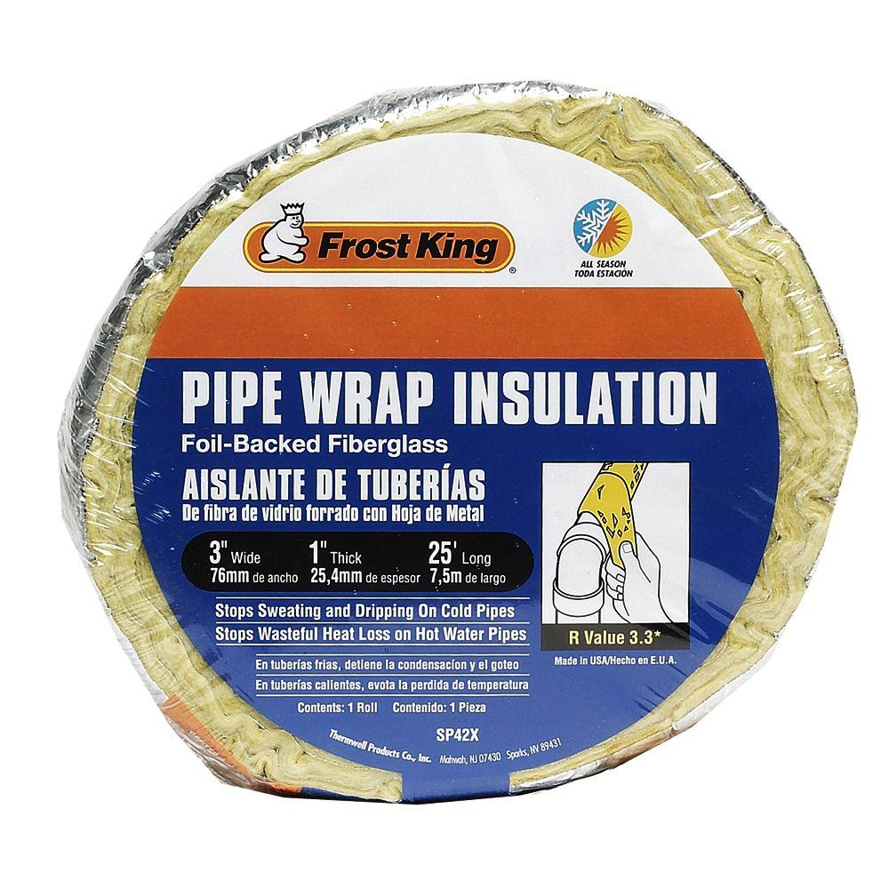 "Frost King® SP42X/16 Foil-Backed Fiberglass Pipe Wrap Insulation, 1"" x 3"" x 25'"