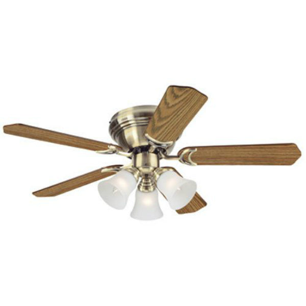 Westinghouse 78510 Comtempra Trio 3-Light/5-Blade Ceiling Fan, Antique Brass, 42""