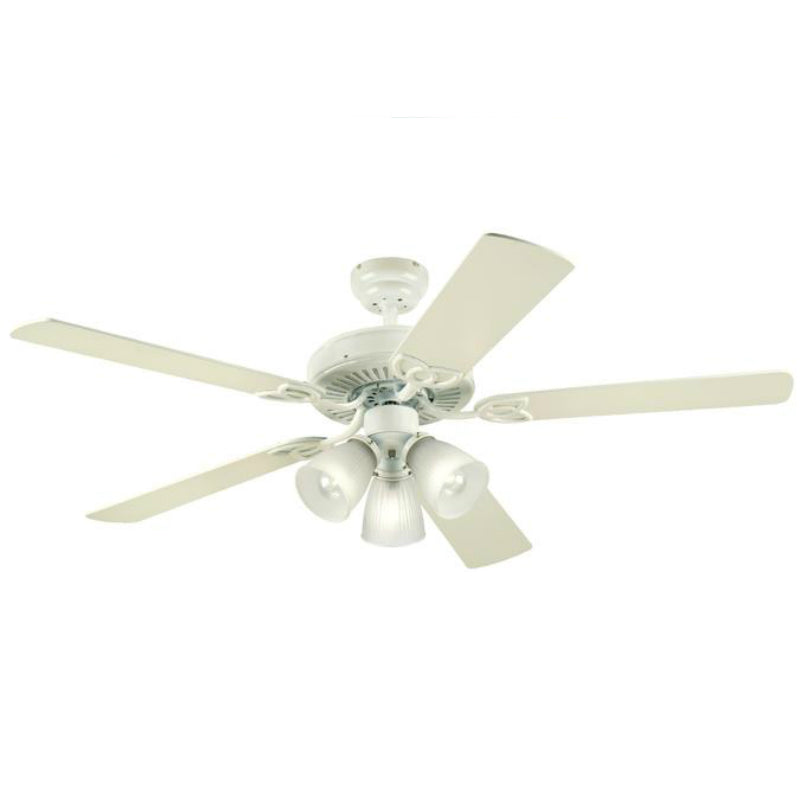 "Westinghouse 78627-6548 Vintage Five-Blade Indoor Ceiling Fan, 52"", White"