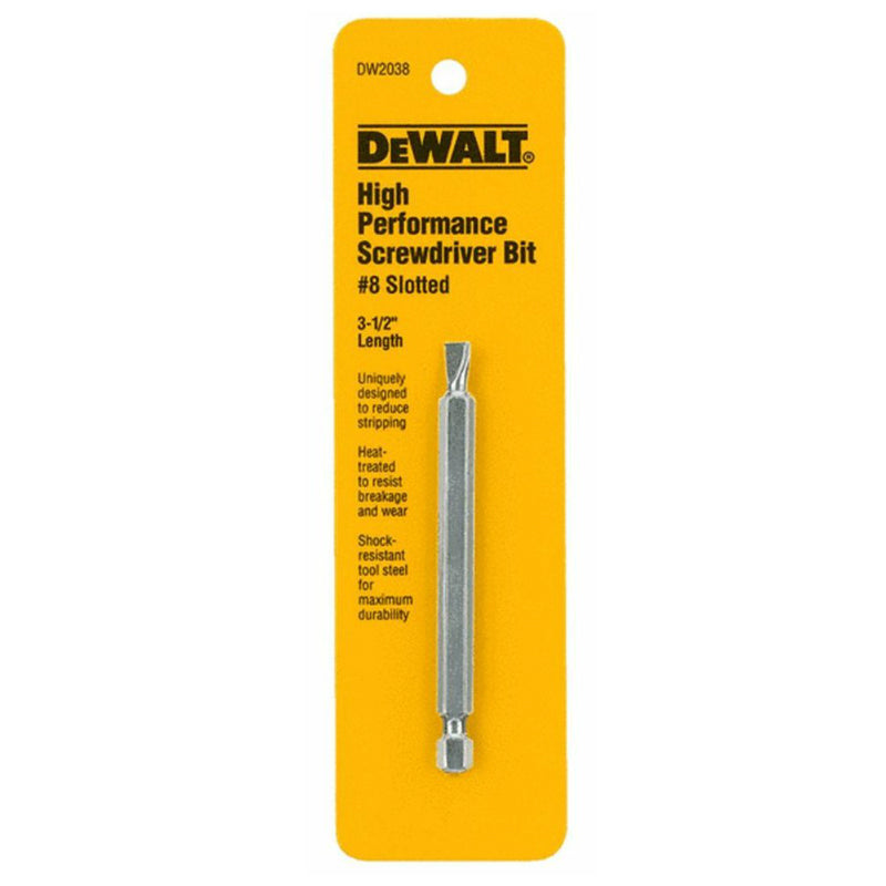DeWalt® DW2038 High Performance Slotted Power Screwdriver Bit, #8, 3-1/2""