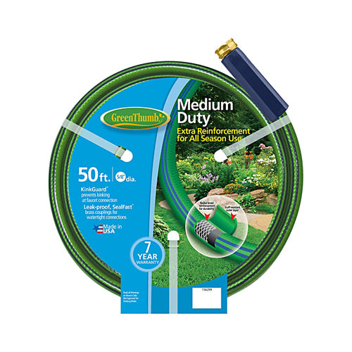 "Green Thumb 156-299 Nylon Reinforced Garden Hose, 5/8"" x 50', 4 Ply, Medium Duty"