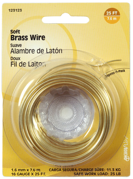 Hillman Fasteners 123123 Soft Wire Brass, 16 Gauge, 25'