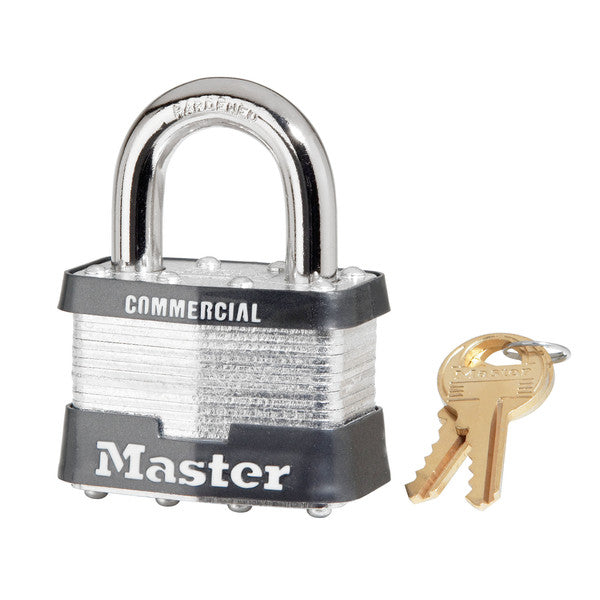 "Master Lock 5KA Keyed Alike Laminated Padlock with 1"" Long Shakle, 2"" Wide"