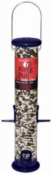 "Droll Yankees® RPS15B Ring Pull Sunflower/Mixed Seed Feeder, 15"", Midnight Blue"