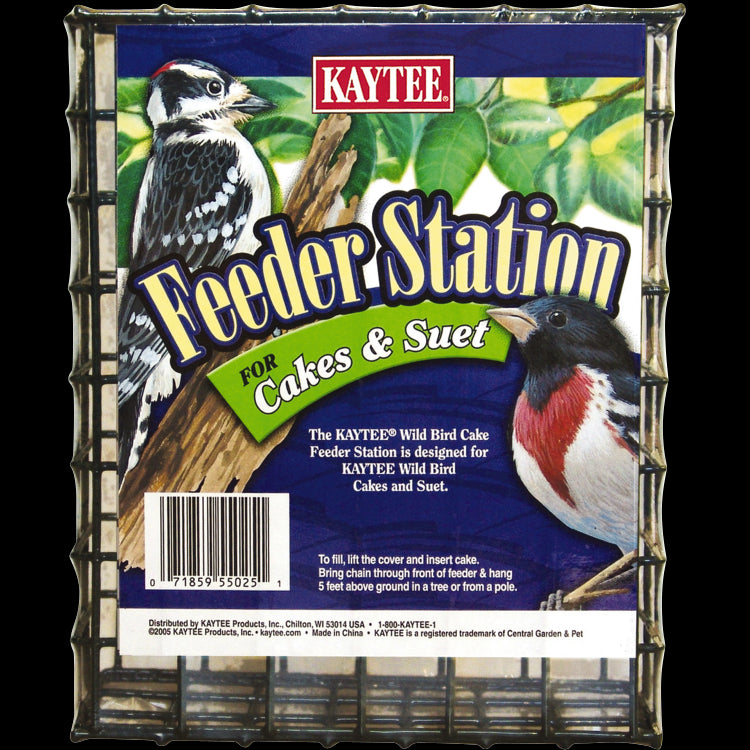 Kaytee® 100033936 Large Wire Bird Feeder Station for Cakes & Suet, Green