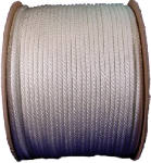 "Wellington 10131 Solid Braided Nylon Cord, 1/4"" x 1000', White"