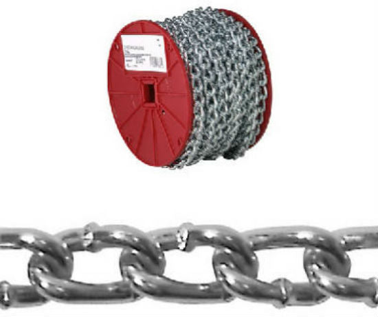 Campbell® 0722527 Twist Link Machine Chain, Zinc Plated, 70'