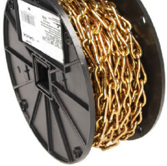 Campbell® 0723167 Twist Link Coil Chain #3, Brass Glo, 50'