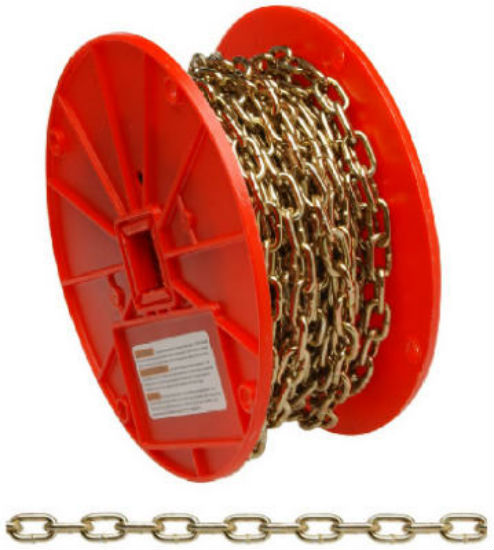Campbell® 0723367 Straight Link Machine Chain, Brass Glo, 50'