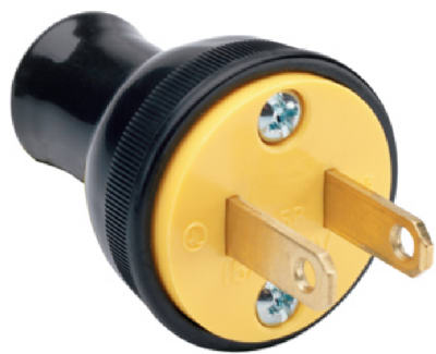 Pass & Seymour Residential Thermoplastic Round Construction Plug, 15A, 125V, Black