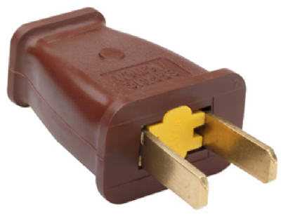 Pass & Seymour SA440CC10 Straight Blade Plug, 15A, 125V, Brown
