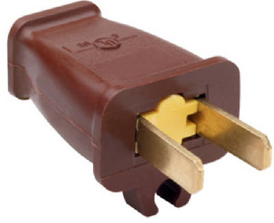 Pass & Seymour Straight Blade Plug with Cord Clip, 15A, 125V, Brown