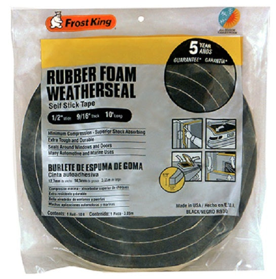 "Frost King R930H Rubber Foam Weather-Strip Tape, 1/2"" x 9/16"", Black"