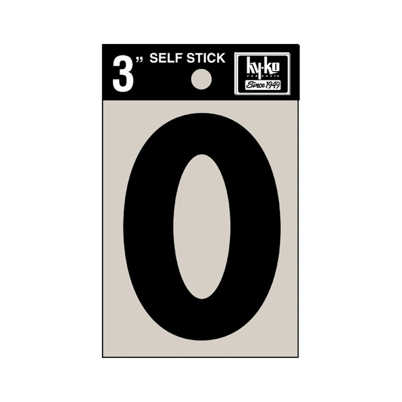 "Hy-Ko 30410 Self-Stick Vinyl Die-Cut Number 0 Sign, 3"", Black"