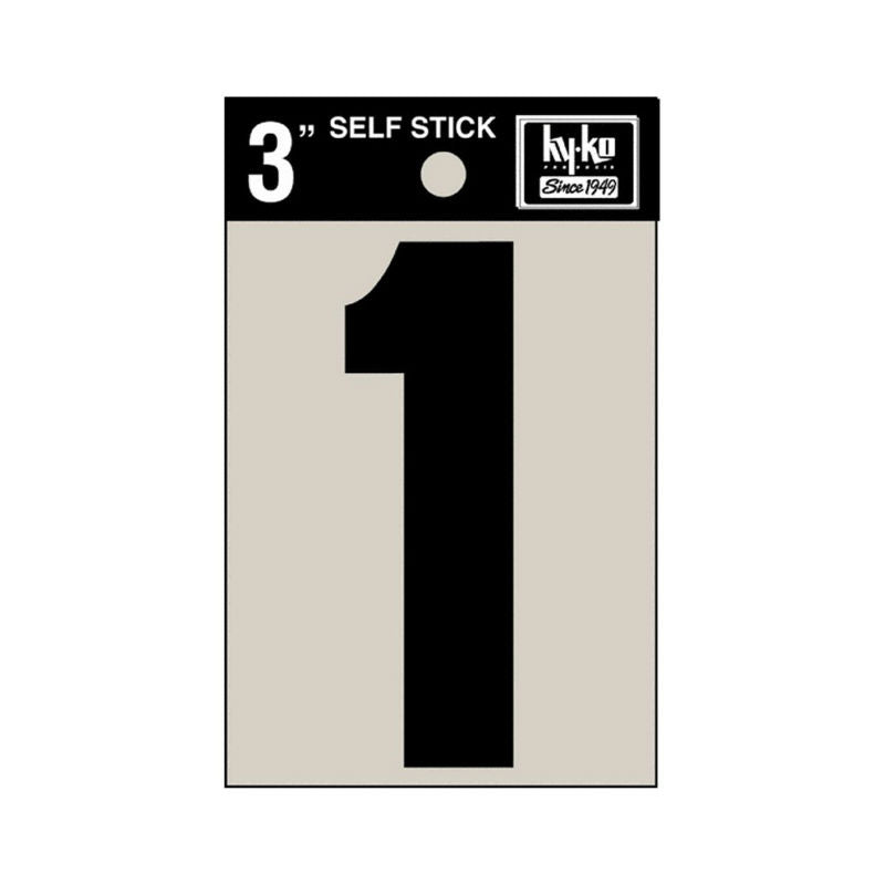 "Hy-Ko 30401 Self-Stick Vinyl Die-Cut Number 1 Sign, 3"", Black"