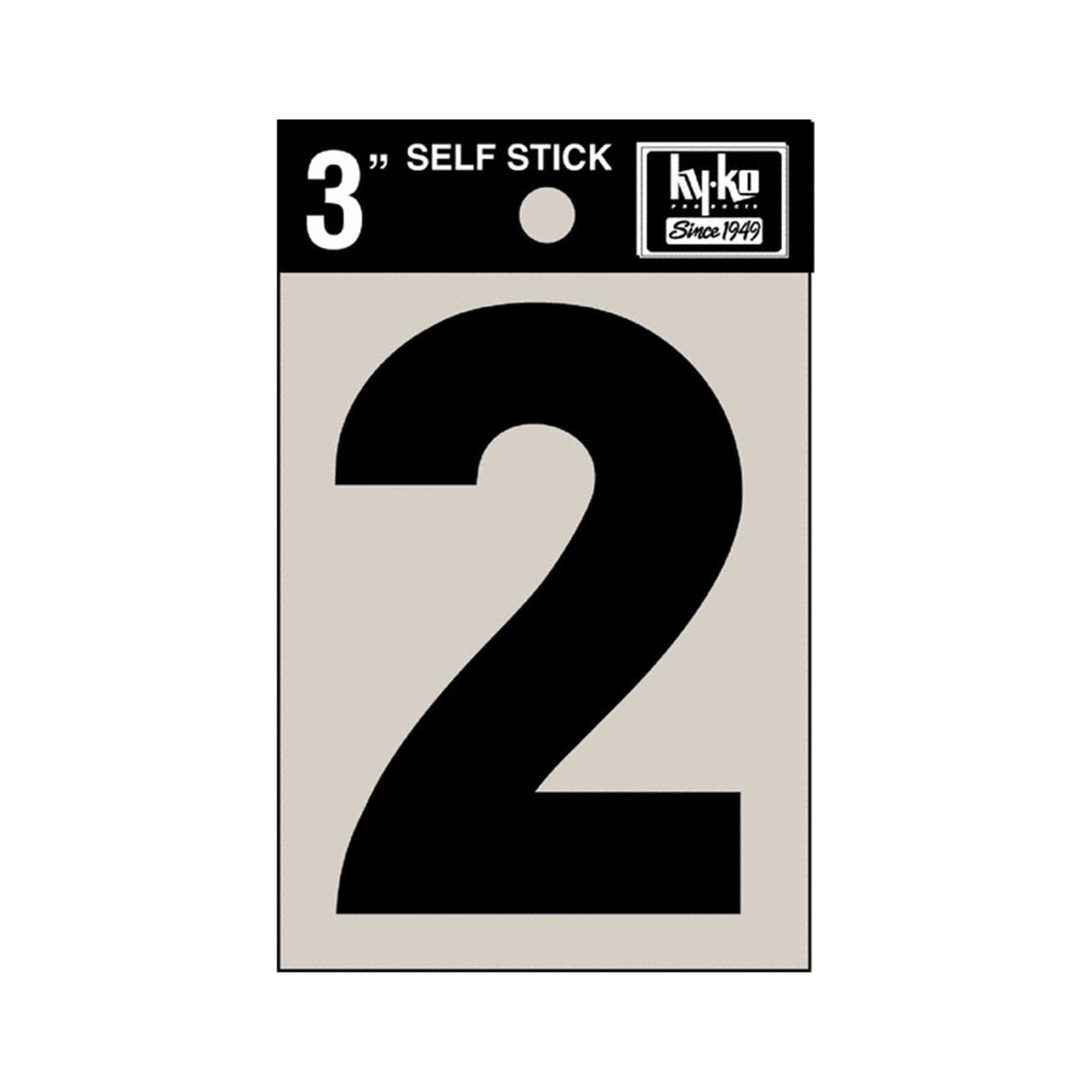"Hy-Ko 30402 Self-Stick Vinyl Die-Cut Number 2 Sign, 3"", Black"
