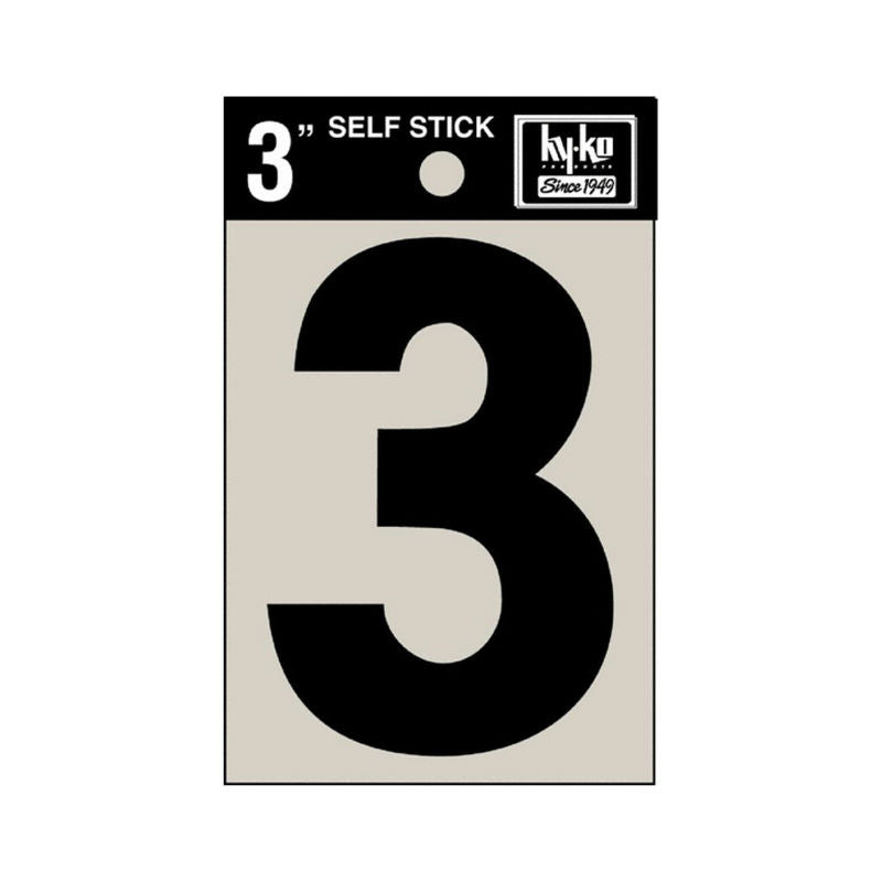 "Hy-Ko 30403 Self-Stick Vinyl Die-Cut Number 3 Sign, 3"", Black"