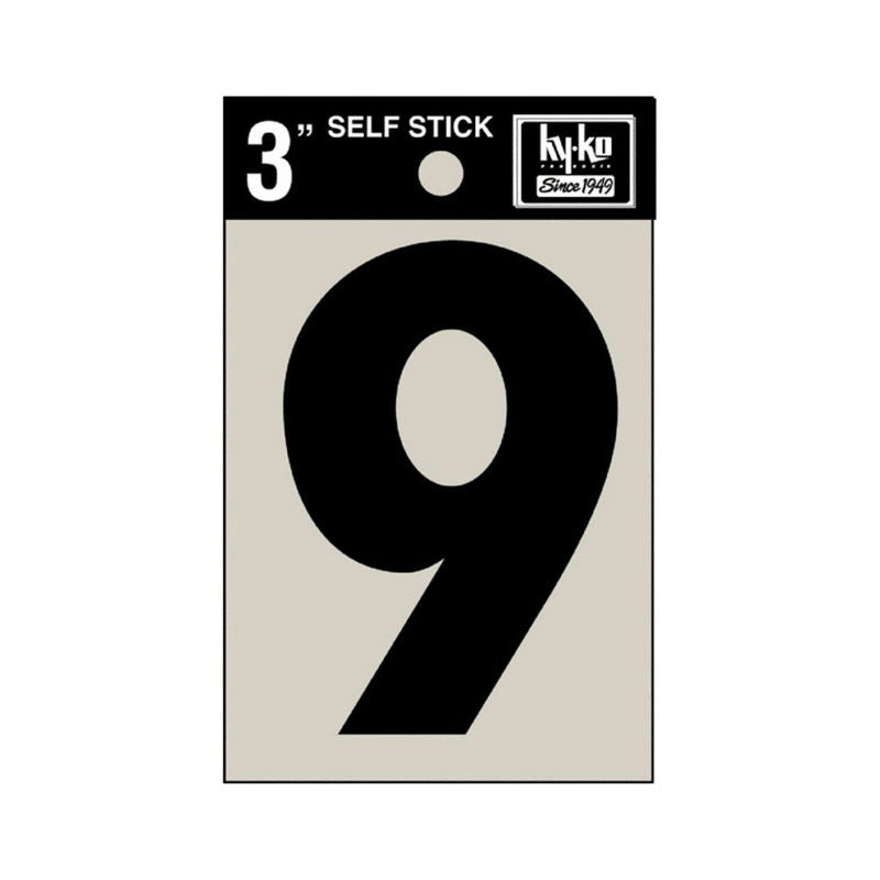"Hy-Ko 30409 Self-Stick Vinyl Die-Cut Number 9 Sign, 3"", Black"
