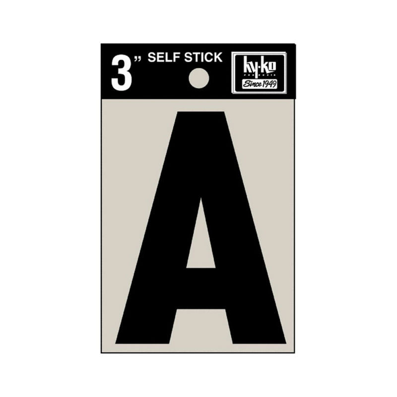 "Hy-Ko 30411 Self Stick Vinyl Die Cut Letter A Sign, 3"", Black"