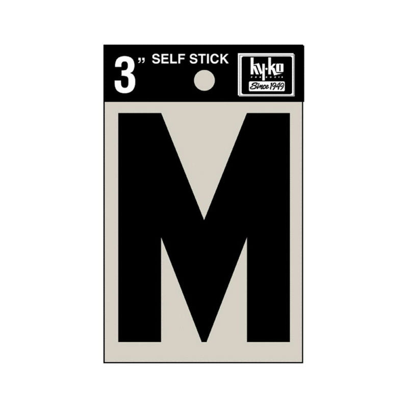 "Hy-Ko 30423 Self-Stick Vinyl Die-Cut Letter M Sign, 3"", Black"