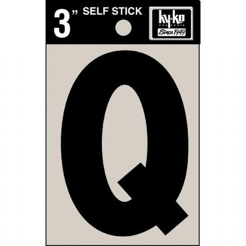 "Hy-Ko 30427 Self-Stick Vinyl Die-Cut Letter Q Sign, 3"", Black"