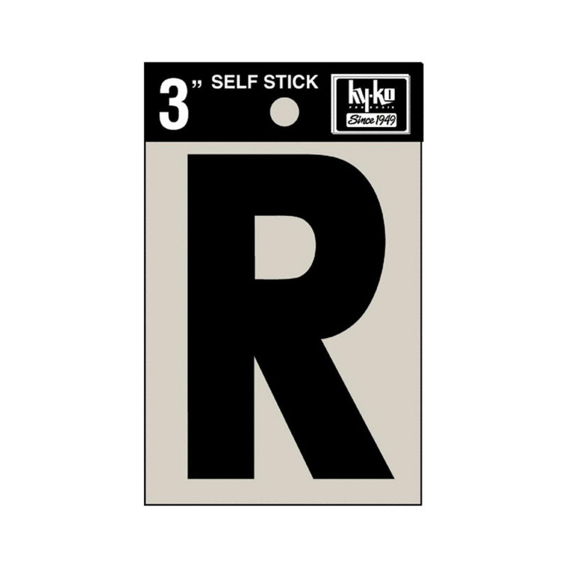 "Hy-Ko 30428 Self-Stick Vinyl Die-Cut Letter R Sign, 3"", Black"
