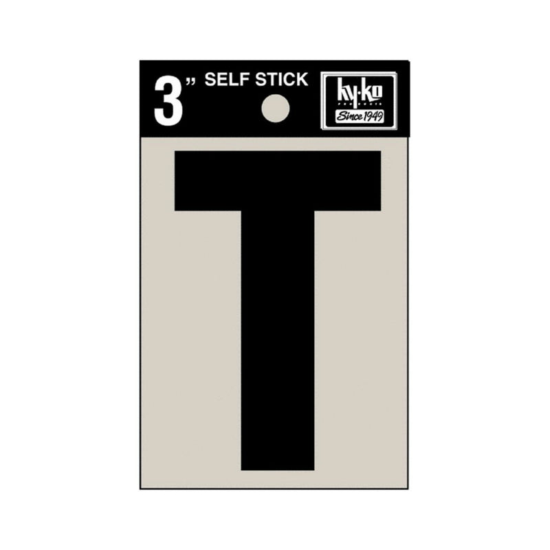 "Hy-Ko 30430 Self-Stick Vinyl Die-Cut Letter T Sign, 3"", Black"