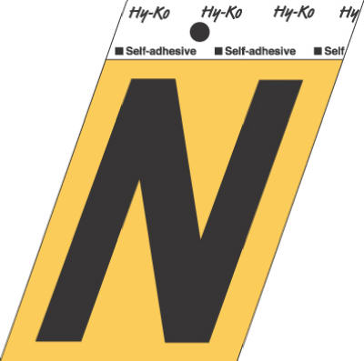 "Hy-Ko GG-25/N Press-On Aluminum Adhesive Letter N Sign, 3-1/2"", Gold/Black"